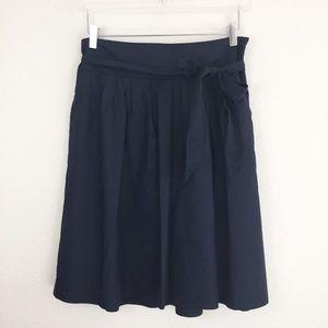 Ann Taylor Navy A-line Waist-Tie Skirt 10